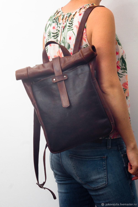 a4b793a785c9 Сумка рюкзак скрутка роллтоп, натуральная кожа, Haren – купить в ...