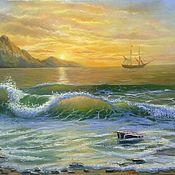 "Картины и панно handmade. Livemaster - original item Oil painting. Land""Gold sunset-pics"",landscape. Handmade."
