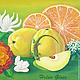 """Натюрморт ручной работы. Ярмарка Мастеров - ручная работа. Купить Картина """"Геккон и фрукты"""". Handmade. Экзотика, апельсин, желтый, цитрус"""