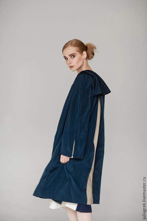 Верхняя одежда ручной работы. Ярмарка Мастеров - ручная работа. Купить Плащ темно-синий. Handmade. Плащ, одежда на заказ