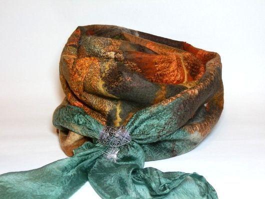 Шарфы и шарфики ручной работы. Ярмарка Мастеров - ручная работа. Купить шарф валяный изумрудно-рыжый. Handmade. Абстрактный