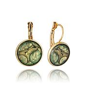 Earrings handmade. Livemaster - original item Round earrings green wedding stylish