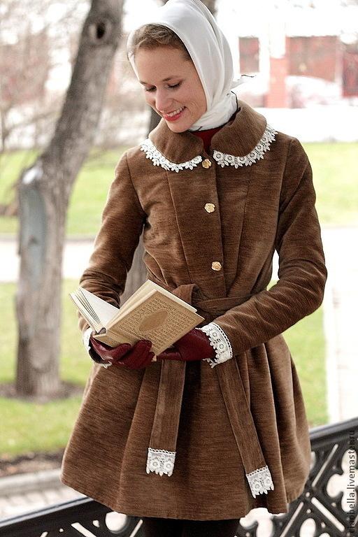 """Верхняя одежда ручной работы. Ярмарка Мастеров - ручная работа. Купить Пальто """"Осеннее платье"""". Handmade. Коричневый, короткое пальто"""