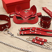 Субкультуры handmade. Livemaster - original item Leather BDSM set (Mask, handcuffs, collar, leash, whip). Handmade.