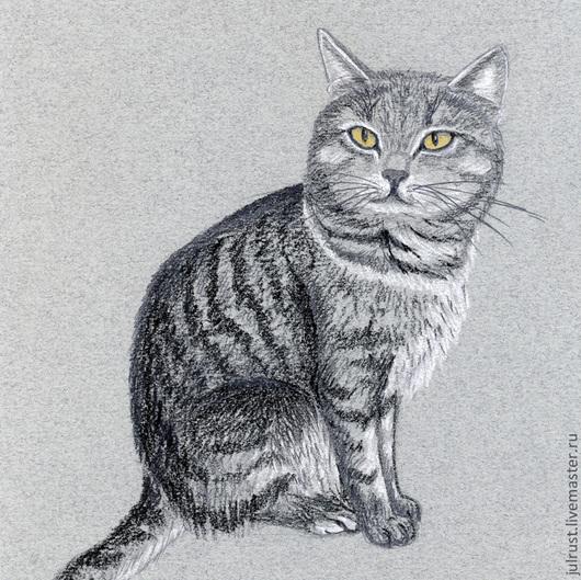Животные ручной работы. Ярмарка Мастеров - ручная работа. Купить Картина Соседский Котяра, рисунок карандашом серый графика. Handmade.