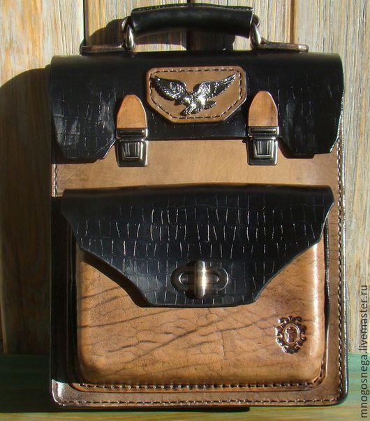 Мужские сумки ручной работы. Ярмарка Мастеров - ручная работа. Купить Мужская кожаная сумка Черный Орел.. Handmade.
