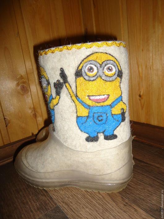 """Обувь ручной работы. Ярмарка Мастеров - ручная работа. Купить Валенки детские """" Миньоны"""". Handmade. Белый, Валенки детские"""