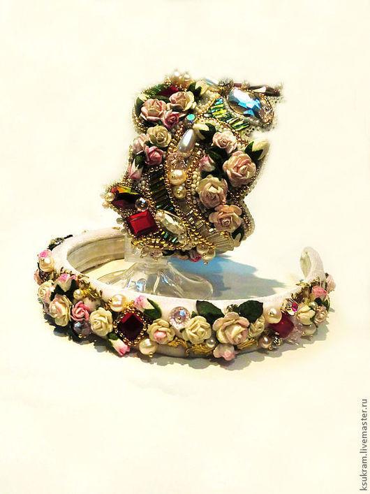 """Диадемы, обручи ручной работы. Ярмарка Мастеров - ручная работа. Купить обруч """"Афродита"""". Handmade. Розовый, обруч с цветами"""
