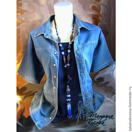"""Лариаты ручной работы. Ярмарка Мастеров - ручная работа. Купить Лариат """"Джинсовый стиль"""". Handmade. Тёмно-синий, джинсовый стиль"""