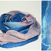 Аксессуары handmade. Livemaster - original item scarf felted Indigo. Handmade.