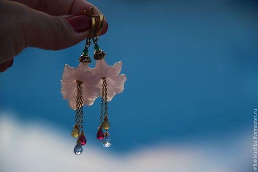 """Серьги ручной работы. Ярмарка Мастеров - ручная работа. Купить Серьги """"В цвету"""" шпинель, топаз, гранат, позолота, розовый кварц. Handmade."""