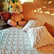 Для дома и интерьера handmade. Livemaster - original item Blankets: A large cozy blanket in the sea style is knitted with needles. Handmade.