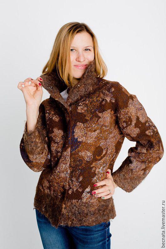 """Пиджаки, жакеты ручной работы. Ярмарка Мастеров - ручная работа. Купить Жакет женский куртка из войлока """" Шоколадный вкус...."""". Handmade."""