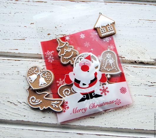 """Упаковка ручной работы. Ярмарка Мастеров - ручная работа. Купить Новогодние пакетики. """"Веселый Санта 2"""" 10х11см + 3см. Handmade."""
