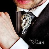 Украшения handmade. Livemaster - original item Ferkhat tie brooch. Men`s brooch. black brooch. Handmade.