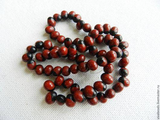 Бусины из семян дерева, размер ок. 7 мм, отверстие ок. 1 мм , цвет бордовый с черным бочком (арт. 1500)