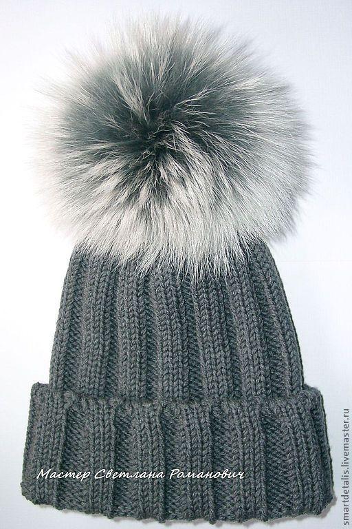 Шапки ручной работы. Ярмарка Мастеров - ручная работа. Купить Зимняя шапка из мериносовой шерсти с меховым помпоном. Handmade.