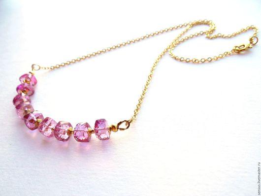 Колье Мorning rose, украшение, украшение ручной работы, колье из камней, розовое украшение, из камней, из натуральных камней, колье ручной работы, ярмарка мастеров