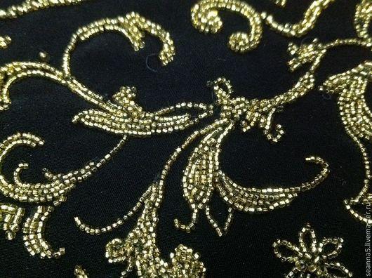 Аппликации, вставки, отделка ручной работы. Ярмарка Мастеров - ручная работа. Купить Вышитый золотым бисером элемент-вставка на черной костюмной ткани. Handmade.