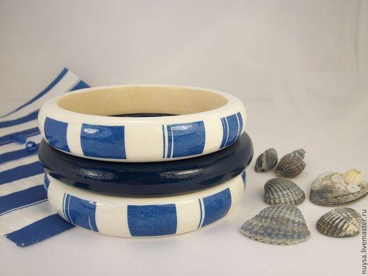 Деревянные украшения Браслеты комплект `Sea` Декупаж Бижутерия браслеты, морская тематика тонкий браслет, полосатый, браслет в полосоку