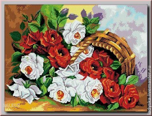 Картины цветов ручной работы. Ярмарка Мастеров - ручная работа. Купить ,, Розы в лукошке,,. Handmade. Бордовый, сувениры и подарки, ткань