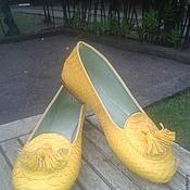 Обувь ручной работы. Ярмарка Мастеров - ручная работа Лоферы желтые. Handmade.