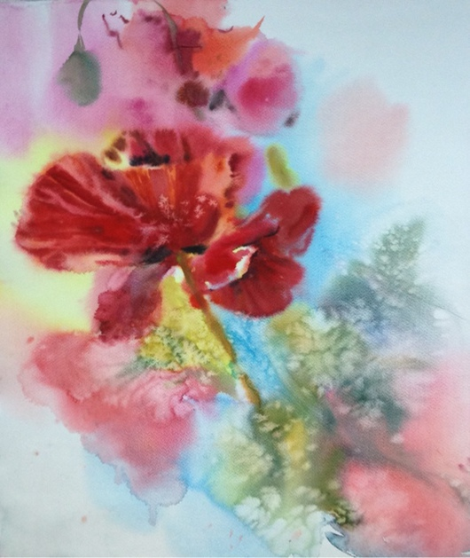 Картины цветов ручной работы. Ярмарка Мастеров - ручная работа. Купить Акварель красный цветок. Handmade. Акварель, цветок