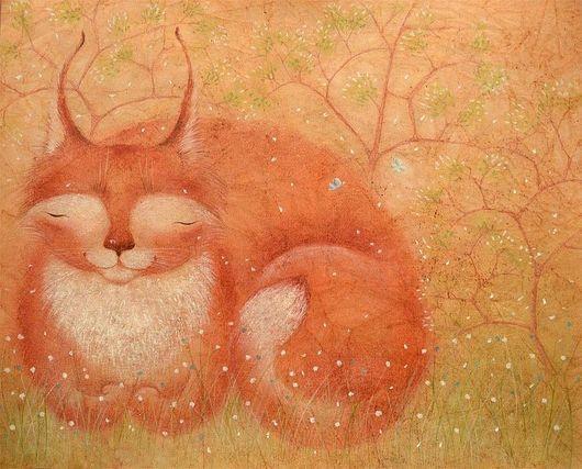 Картина весенняя кошка