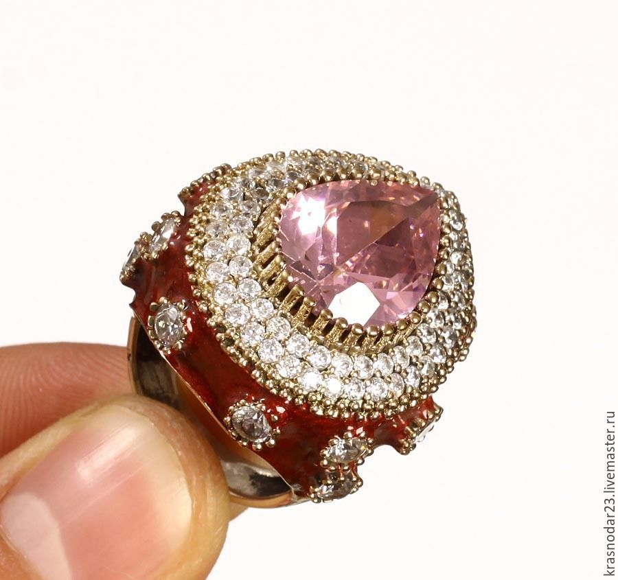 ring 'Luxury lady' made of silver with enamel, Ring, Krasnodar,  Фото №1