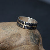 Украшения handmade. Livemaster - original item Silver men`s ring with a brass cross.. Handmade.