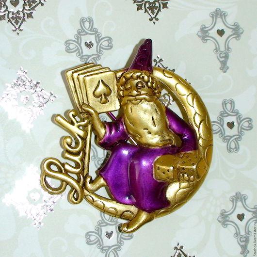 """Винтажные украшения. Ярмарка Мастеров - ручная работа. Купить Брошь """"Повелитель удачи"""" под античное золото/эмаль (Danecraft США). Handmade."""