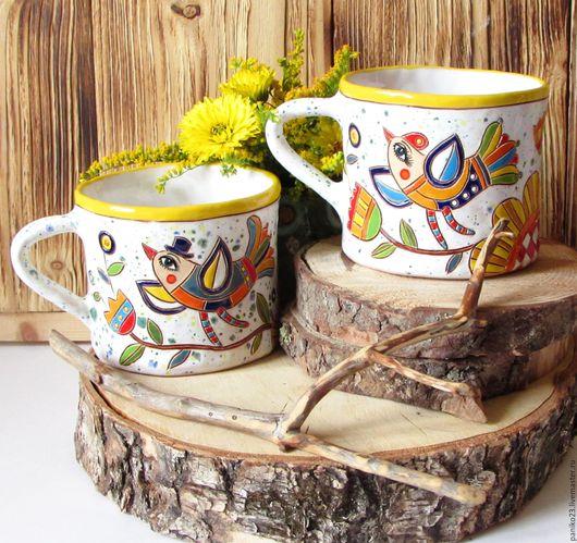 """Кружки и чашки ручной работы. Ярмарка Мастеров - ручная работа. Купить Чашки парные """"Пара птиц"""". Handmade. Комбинированный, чашка"""