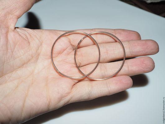 Для украшений ручной работы. Ярмарка Мастеров - ручная работа. Купить Основа для серег в виде колец - покрытие розовое золото (12х16). Handmade.