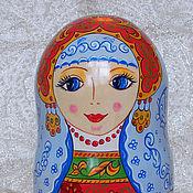 Русский стиль handmade. Livemaster - original item Matryoshka in blue shawl (7 set). Handmade.