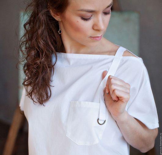 Блузки ручной работы. Ярмарка Мастеров - ручная работа. Купить Рубашка укороченная. Handmade. Белый, оверсайз