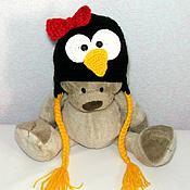 """Работы для детей, ручной работы. Ярмарка Мастеров - ручная работа шапочка """"Пингвин"""" (шапка теплая зимняя вязаная с ушками) черный. Handmade."""