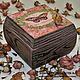 шкатулка ручной работы шкатулка деревянная подарок девушке  розовый романтика любовь шкатулка брашировка