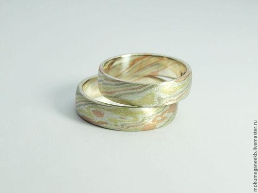 Кольца ручной работы. Ярмарка Мастеров - ручная работа. Купить Обручальные кольца в технике Мокуме Гане. Handmade. Разноцветный