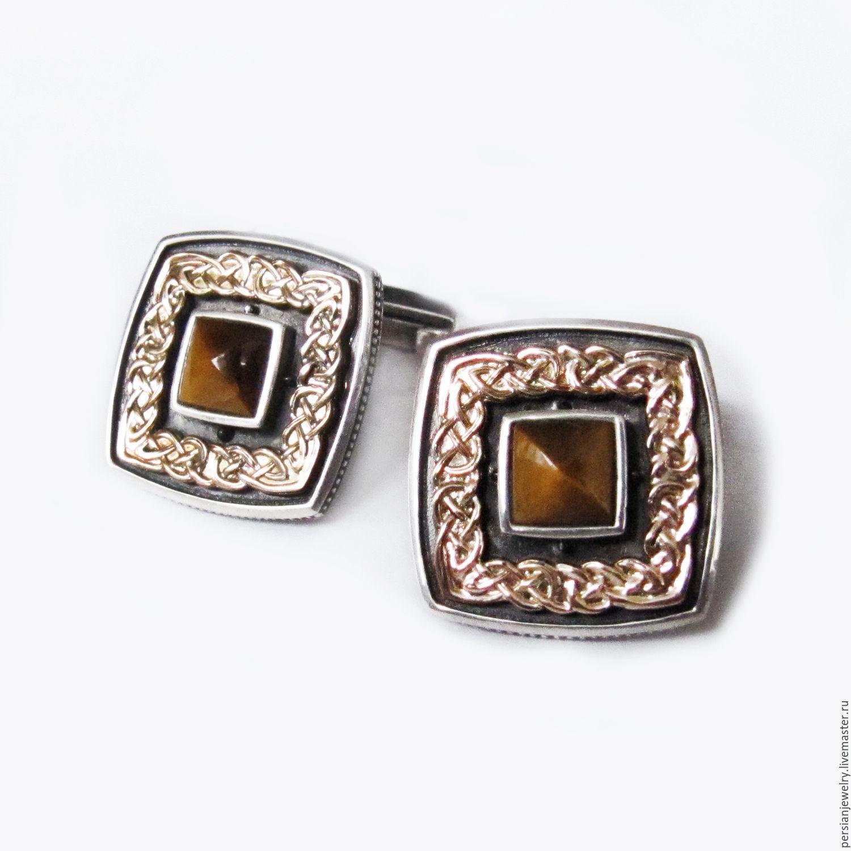 Silver cufflinks with tiger eye, Cuff Links, Sevastopol,  Фото №1