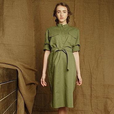 Одежда ручной работы. Ярмарка Мастеров - ручная работа Летнее льняное платье-рубашка в стиле милитари зеленого цвета. Handmade.
