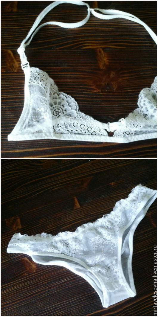 """Белье ручной работы. Ярмарка Мастеров - ручная работа. Купить комплект """"""""White foam"""". Handmade. Белый, кружевное белье, кружево"""