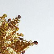 Украшения ручной работы. Ярмарка Мастеров - ручная работа Янтарный цветок из бисера. Handmade.