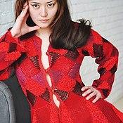 """Одежда ручной работы. Ярмарка Мастеров - ручная работа Жакет """"Красная королева"""" спицами и крючком из мериноса, шерсти и шелка. Handmade."""