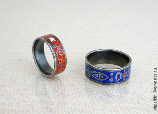 Кольца РУССКИЕ Обручалные. Серебро 925 `, горячая эмаль.  Автор: Вера Палкина