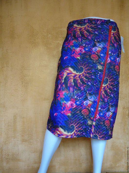 Юбки ручной работы. Ярмарка Мастеров - ручная работа. Купить Зимняя тёплая юбка с асимметричной молнией стёганый трикотаж. Handmade.