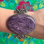 Украшения handmade. Livemaster - original item Large bracelet with natural, large charoite. Silver plated.. Handmade.
