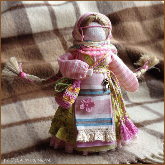 Народные куклы ручной работы. Ярмарка Мастеров - ручная работа. Купить Успешница-Удачница. Handmade. Салатовый, оберег в подарок, лён