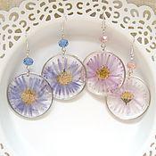 Украшения handmade. Livemaster - original item Transparent earrings made of Resin with Real Fall Flowers Aster. Handmade.