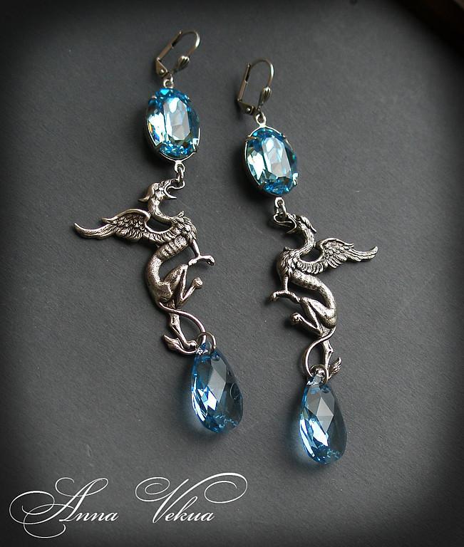 Earrings 'Swarovski, vintage-dragons', Earrings handmade, St. Petersburg, Фото №1