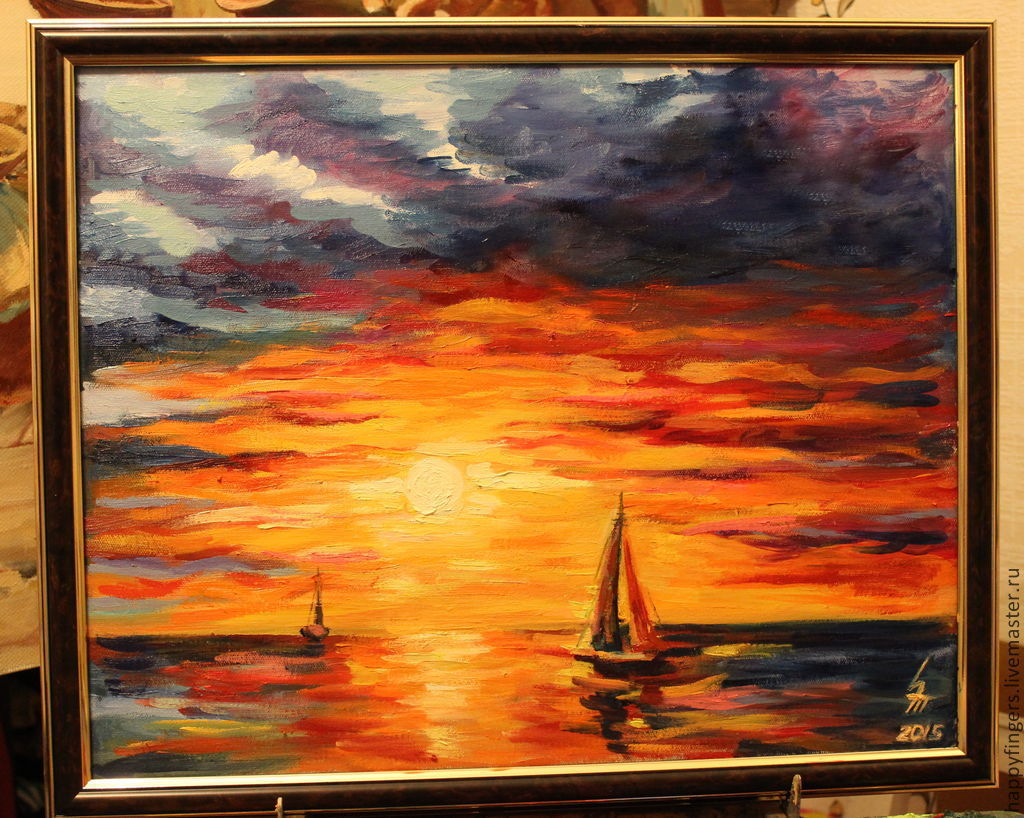 Oil painting 'Sunset', the sea, Pictures, Elektrostal,  Фото №1